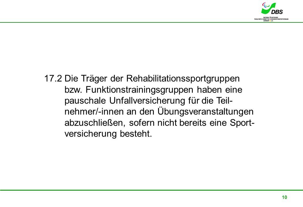 17. 2 Die Träger der Rehabilitationssportgruppen bzw