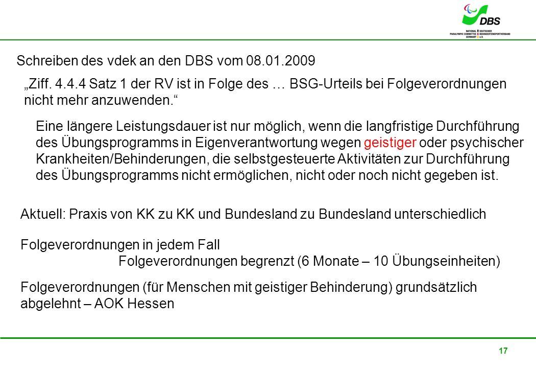 Schreiben des vdek an den DBS vom 08.01.2009