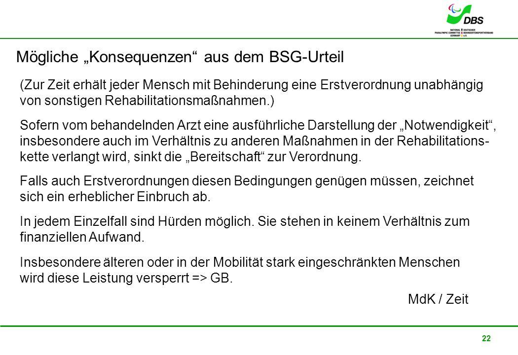 """Mögliche """"Konsequenzen aus dem BSG-Urteil"""