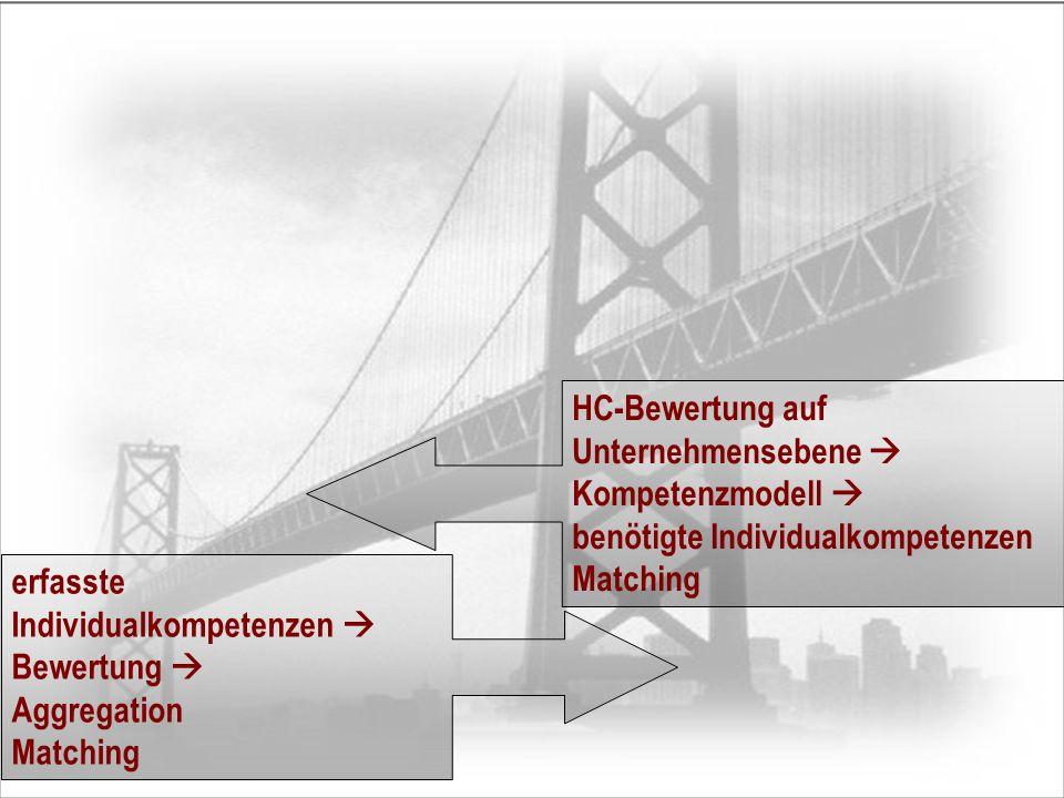 HC-Bewertung auf Unternehmensebene  Kompetenzmodell  benötigte Individualkompetenzen Matching