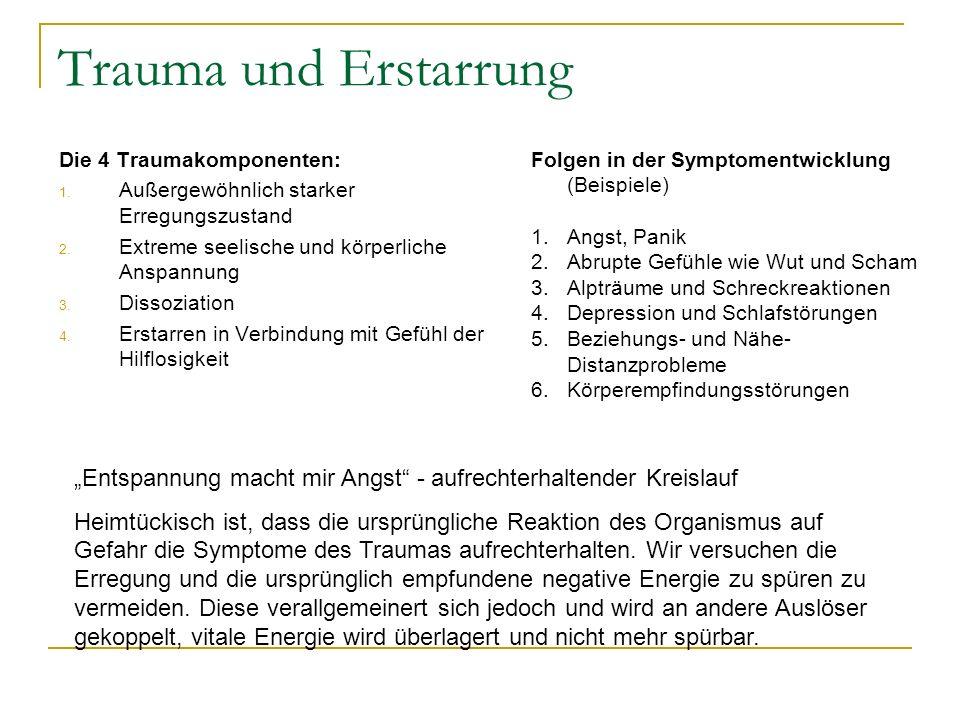 Trauma und Erstarrung Die 4 Traumakomponenten: Außergewöhnlich starker Erregungszustand. Extreme seelische und körperliche Anspannung.