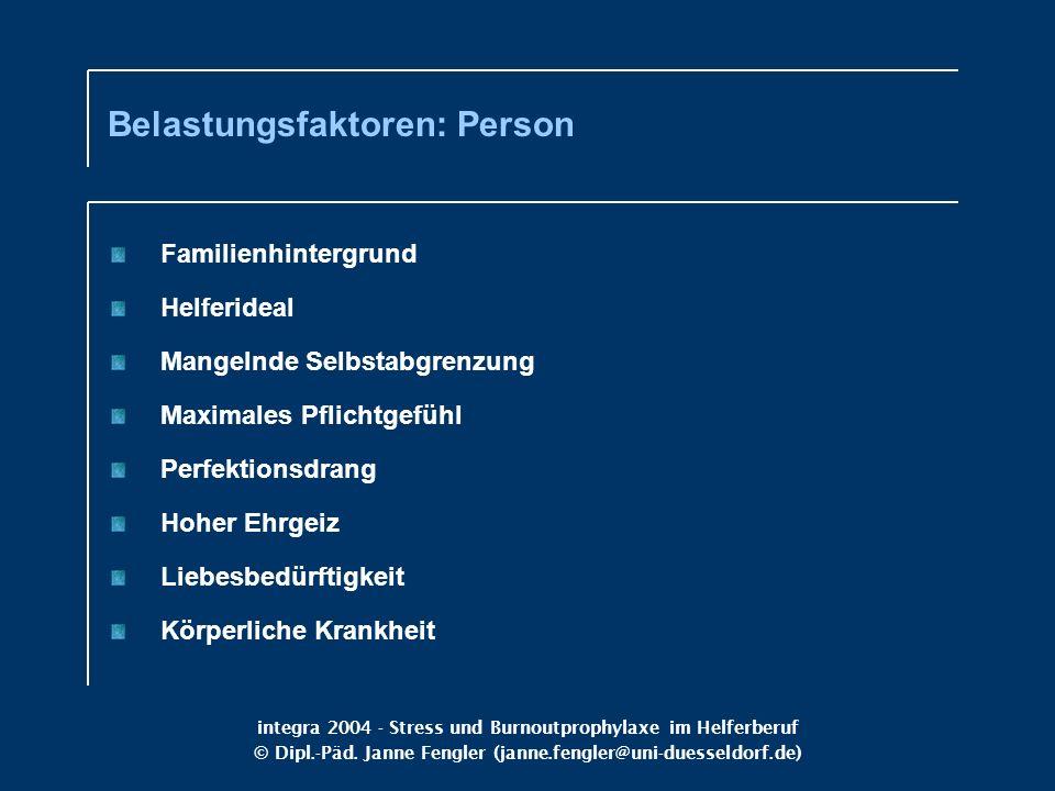Belastungsfaktoren: Person
