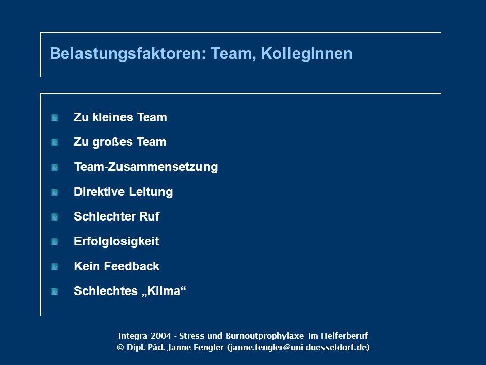 Belastungsfaktoren: Team, KollegInnen