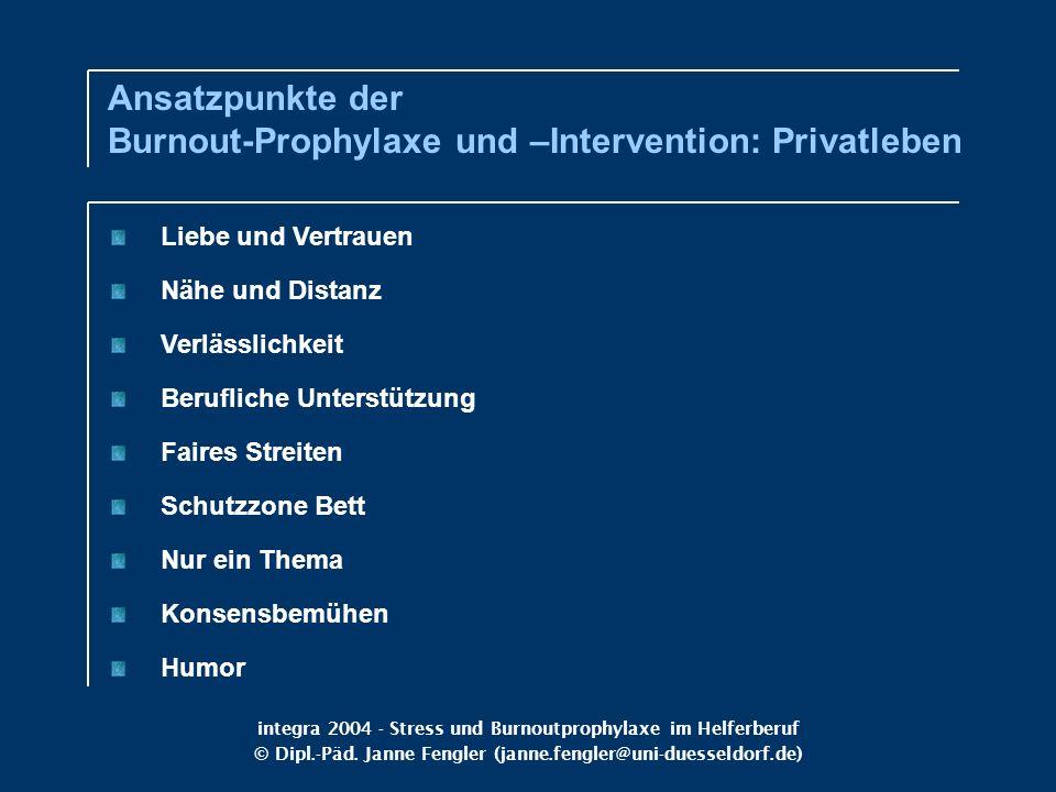 Ansatzpunkte der Burnout-Prophylaxe und –Intervention: Privatleben
