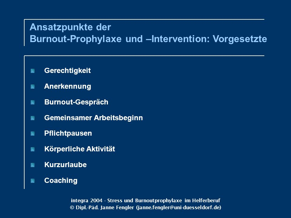 Ansatzpunkte der Burnout-Prophylaxe und –Intervention: Vorgesetzte