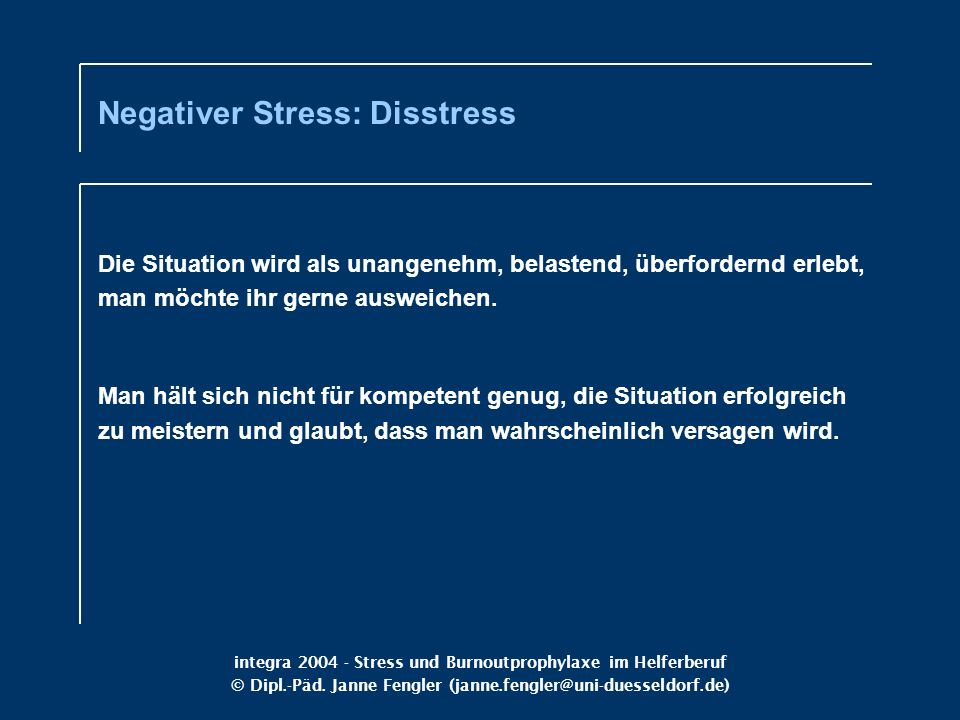 Negativer Stress: Disstress
