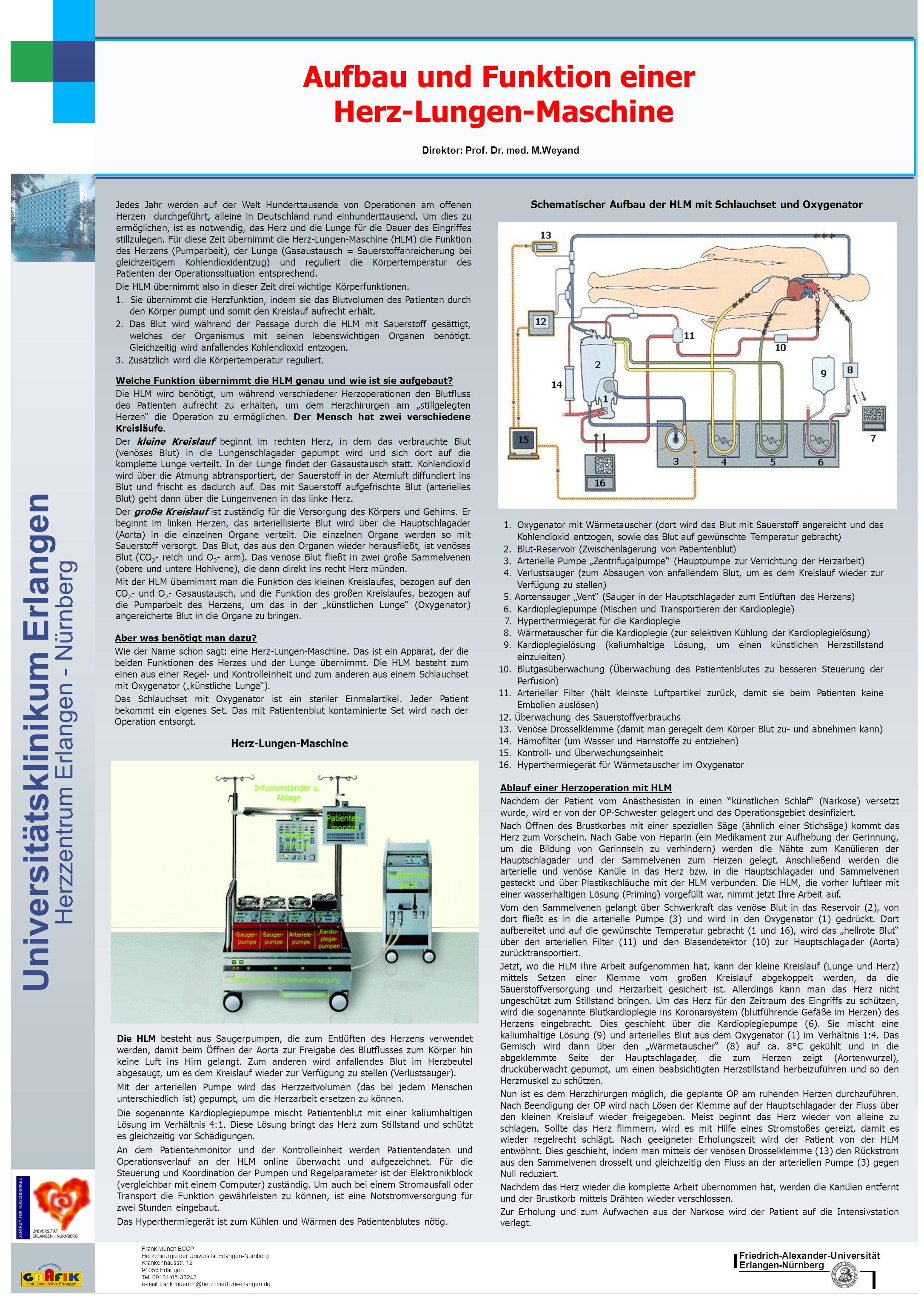 Aufbau und Funktion einer Herz-Lungen-Maschine