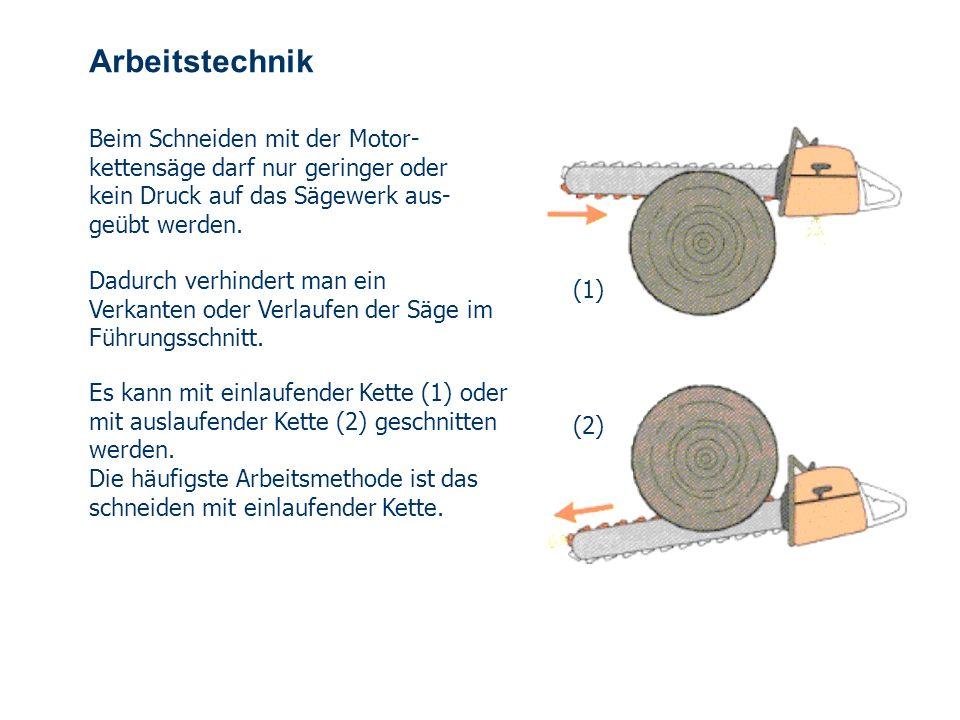 Arbeitstechnik Beim Schneiden mit der Motor-kettensäge darf nur geringer oder kein Druck auf das Sägewerk aus-geübt werden.