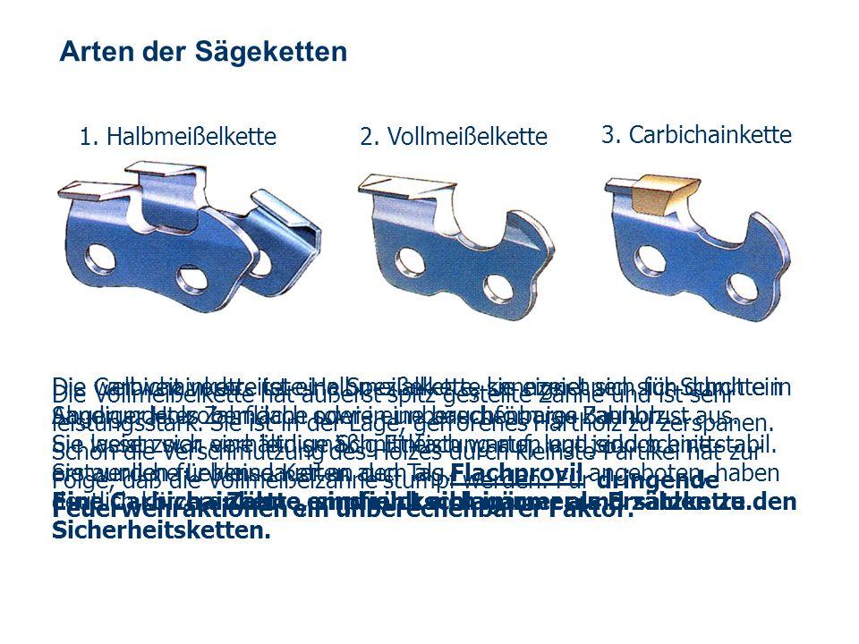 Arten der Sägeketten 1. Halbmeißelkette 2. Vollmeißelkette