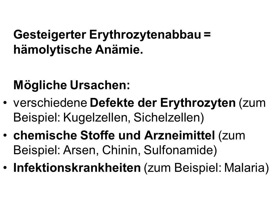 Gesteigerter Erythrozytenabbau = hämolytische Anämie.