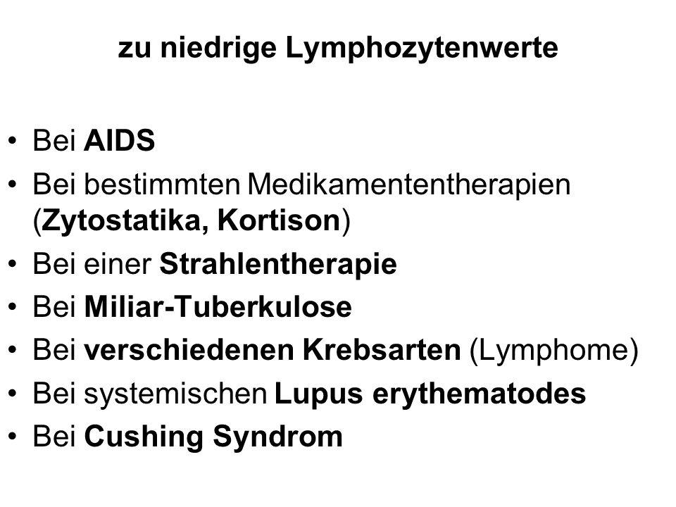 zu niedrige Lymphozytenwerte