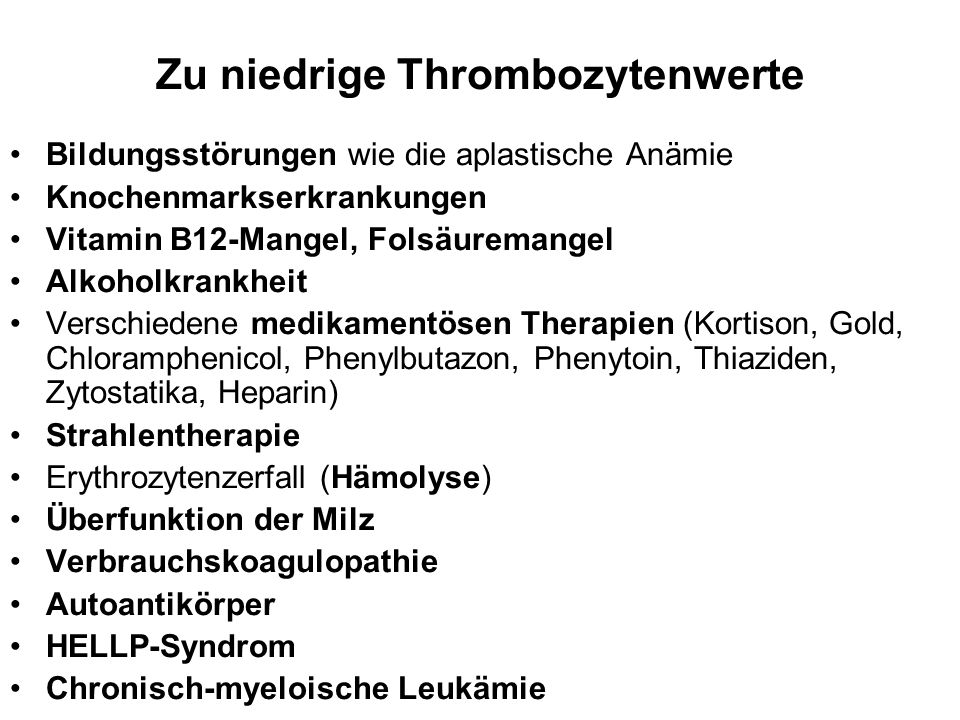 Zu niedrige Thrombozytenwerte