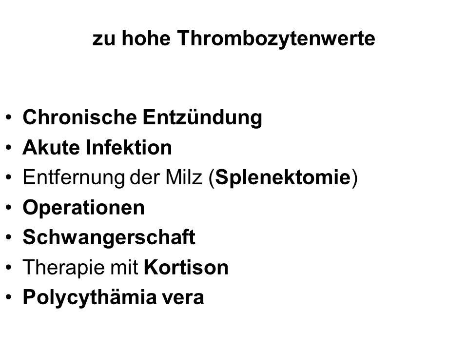 zu hohe Thrombozytenwerte