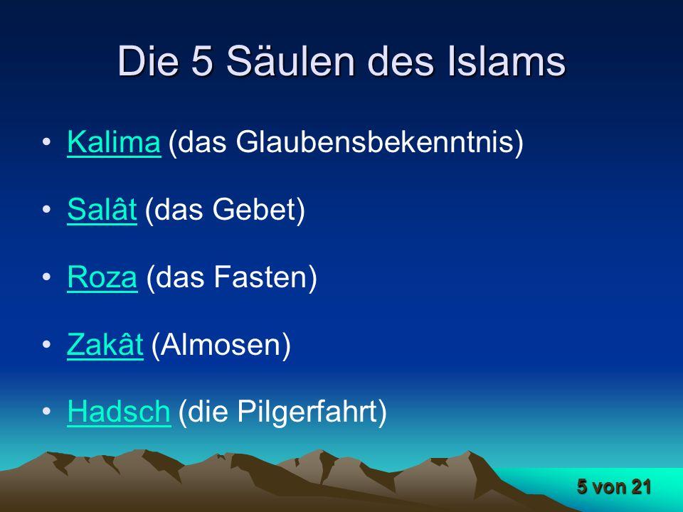 Die 5 Säulen des Islams Kalima (das Glaubensbekenntnis)