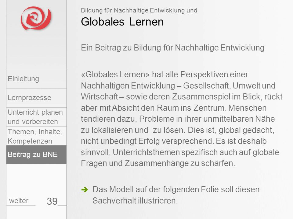 Globales Lernen 39 Ein Beitrag zu Bildung für Nachhaltige Entwicklung