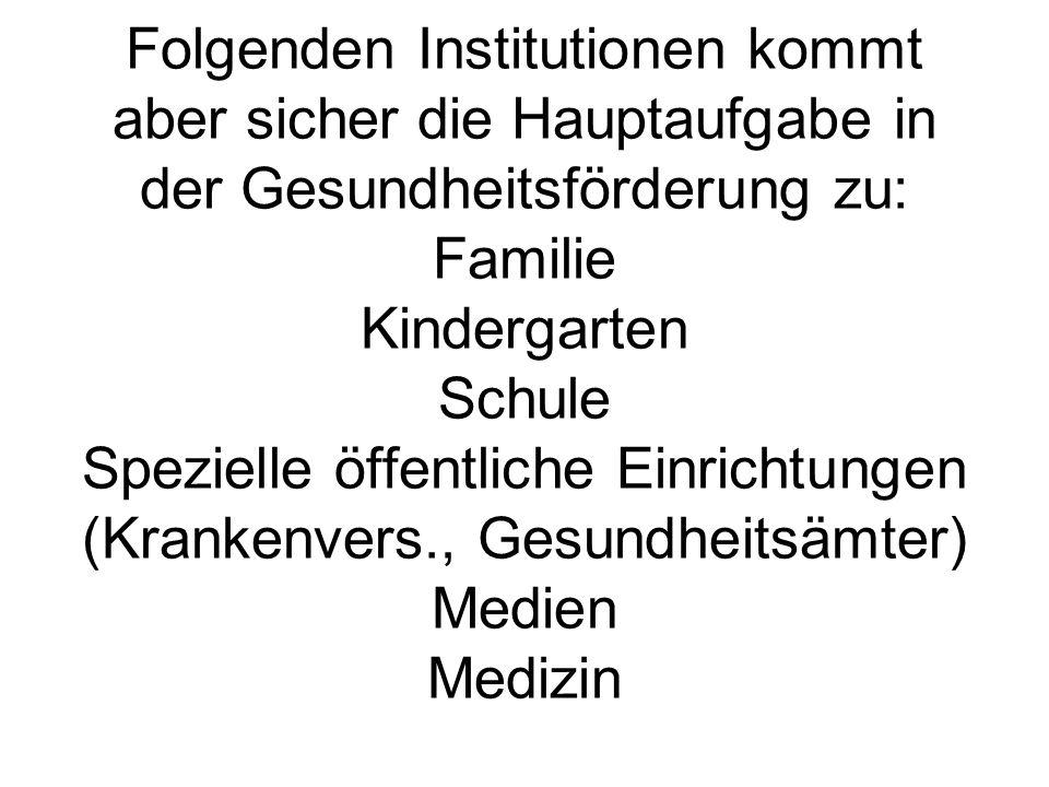 Folgenden Institutionen kommt aber sicher die Hauptaufgabe in der Gesundheitsförderung zu: Familie Kindergarten Schule Spezielle öffentliche Einrichtungen (Krankenvers., Gesundheitsämter) Medien Medizin