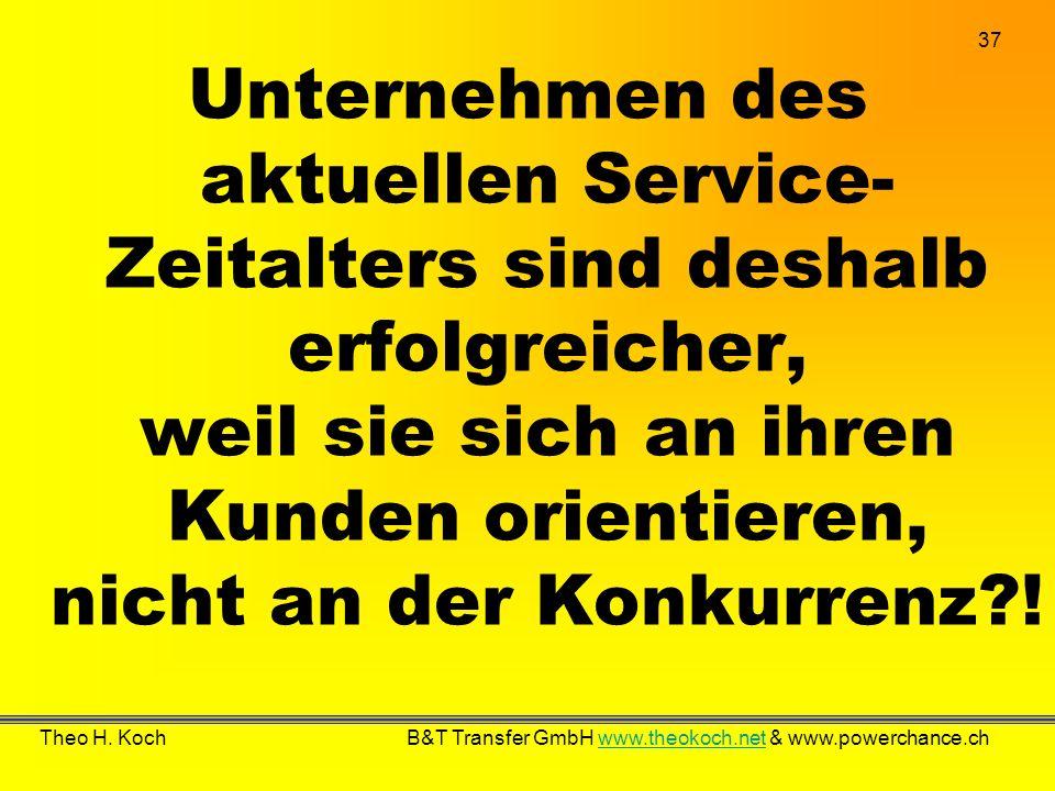 Unternehmen des aktuellen Service-Zeitalters sind deshalb erfolgreicher, weil sie sich an ihren Kunden orientieren, nicht an der Konkurrenz !