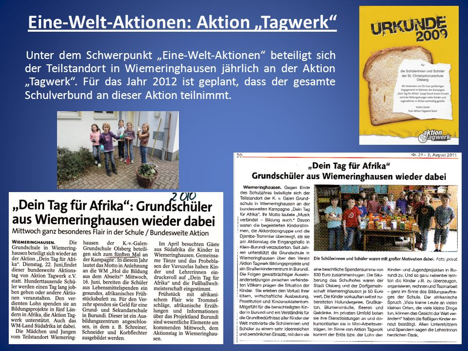 """Eine-Welt-Aktionen: Aktion """"Tagwerk"""
