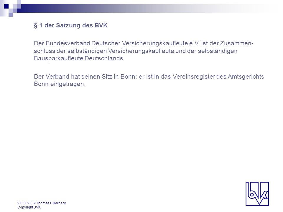 § 1 der Satzung des BVK