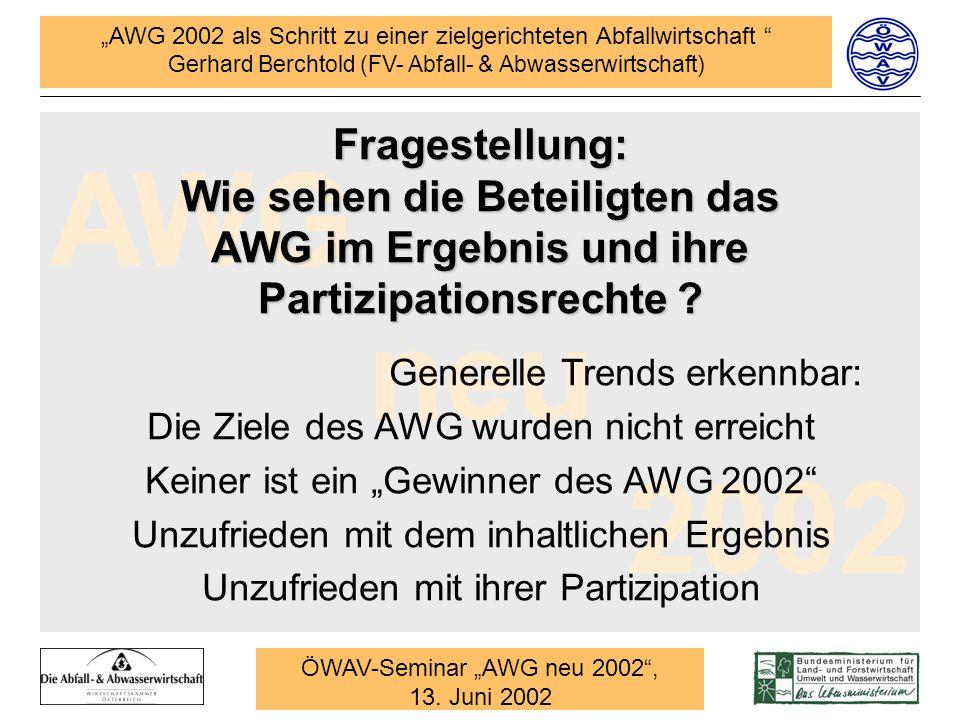 Fragestellung: Wie sehen die Beteiligten das AWG im Ergebnis und ihre Partizipationsrechte
