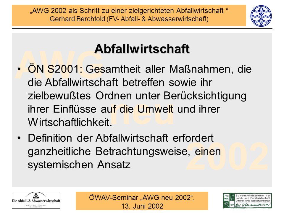 """ÖWAV-Seminar """"AWG neu 2002 ,"""