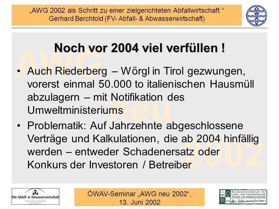 Noch vor 2004 viel verfüllen !