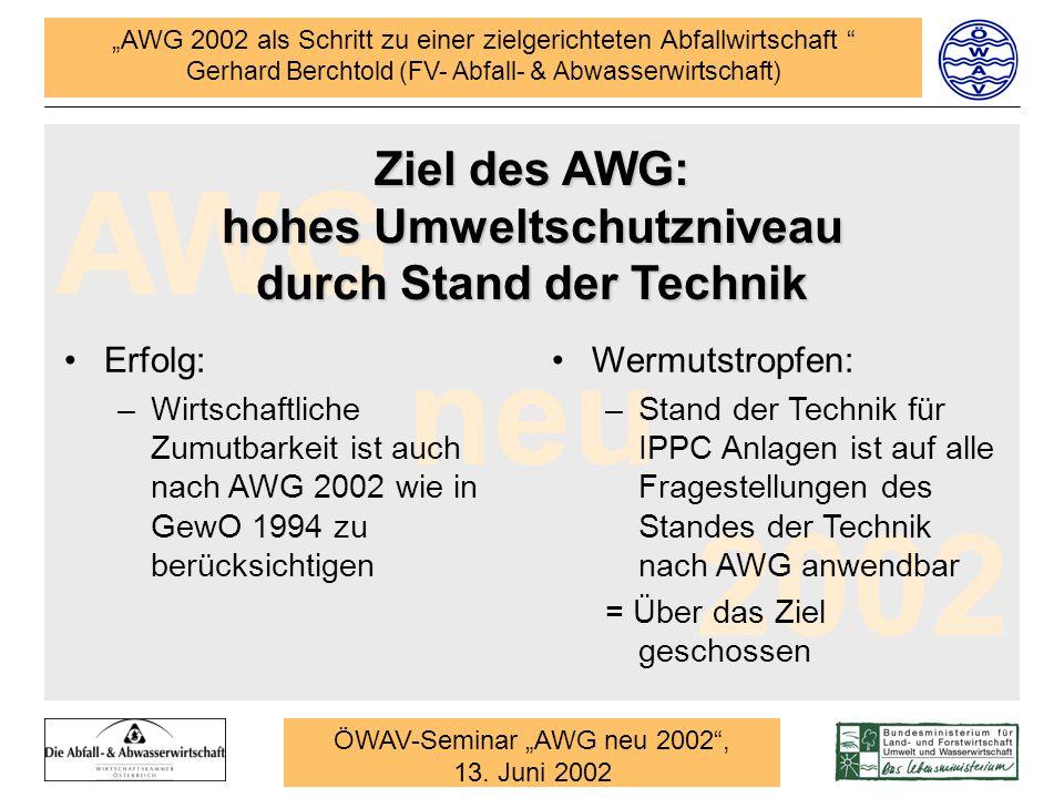 Ziel des AWG: hohes Umweltschutzniveau durch Stand der Technik