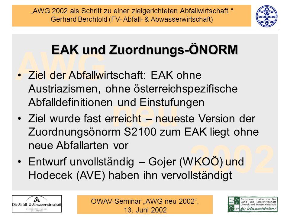 EAK und Zuordnungs-ÖNORM