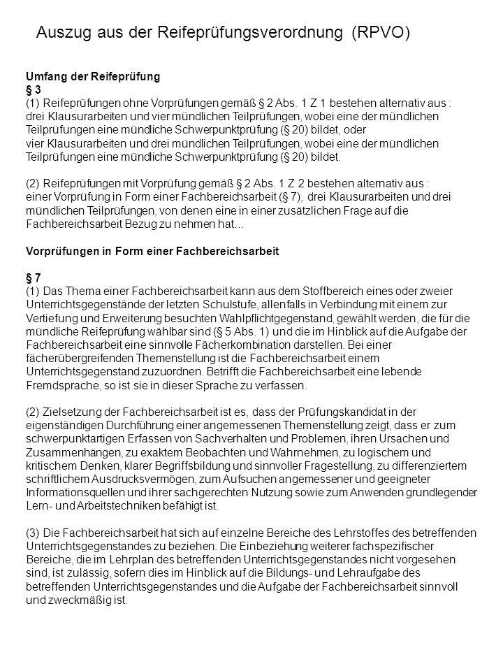 Auszug aus der Reifeprüfungsverordnung (RPVO)
