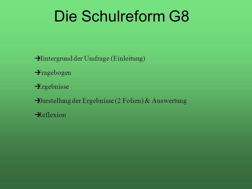 Die Schulreform G8 Hintergrund der Umfrage (Einleitung) Fragebogen