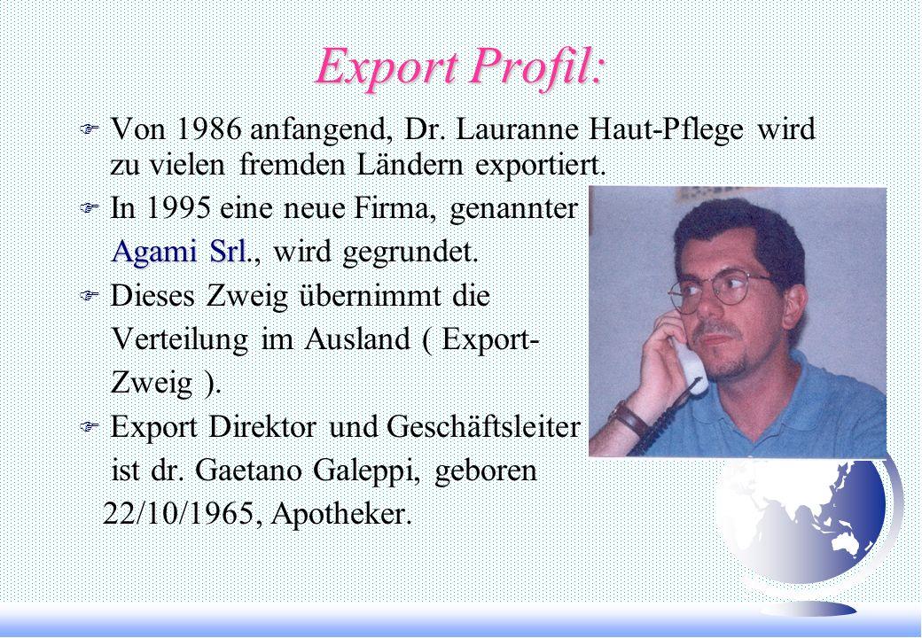 Export Profil: Von 1986 anfangend, Dr. Lauranne Haut-Pflege wird zu vielen fremden Ländern exportiert.