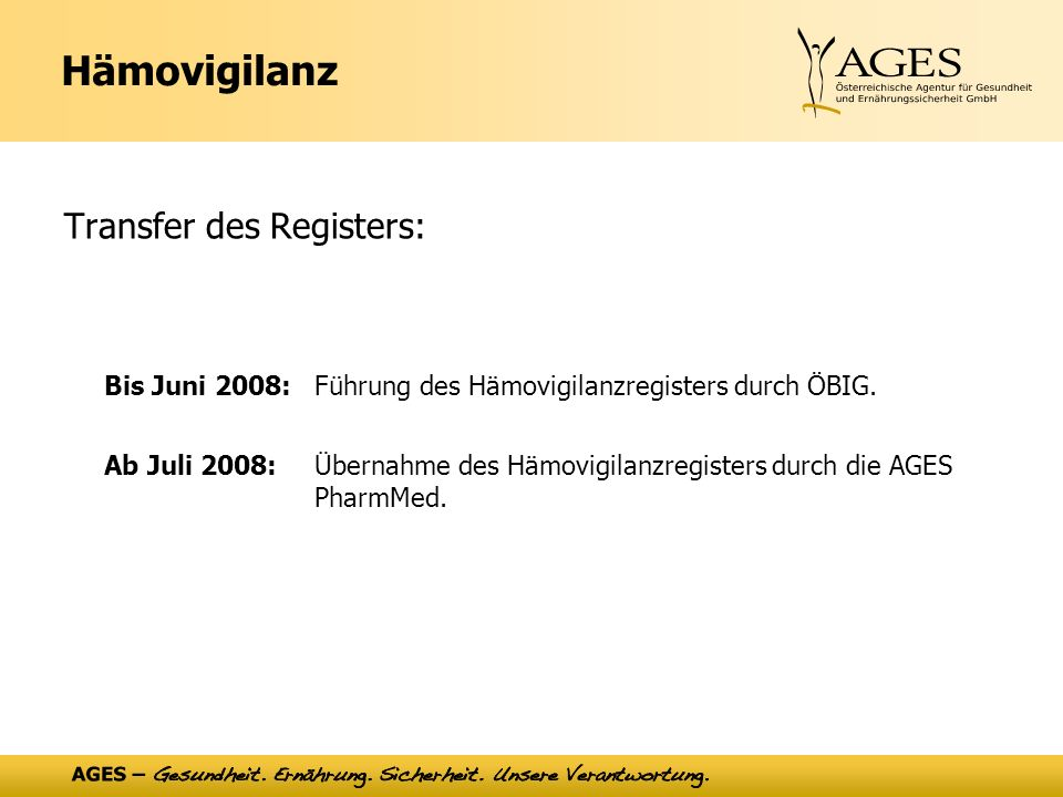 Bis Juni 2008: Führung des Hämovigilanzregisters durch ÖBIG.