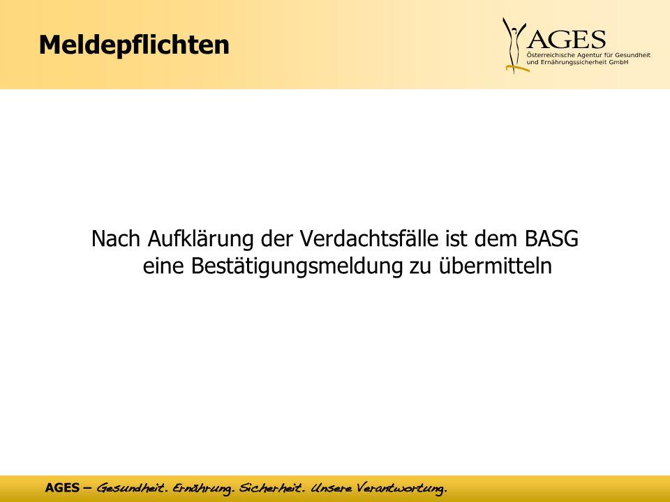 Meldepflichten Nach Aufklärung der Verdachtsfälle ist dem BASG eine Bestätigungsmeldung zu übermitteln.