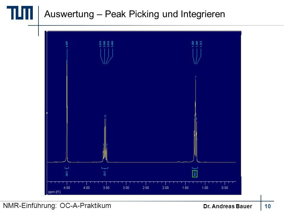 Auswertung – Peak Picking und Integrieren