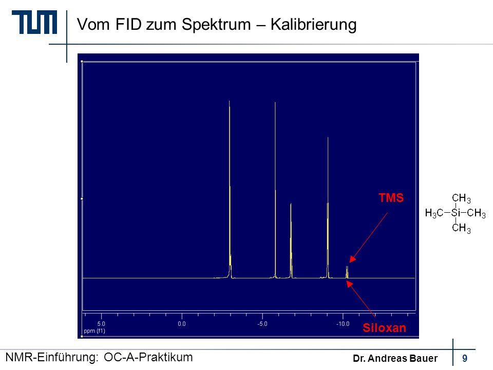 Vom FID zum Spektrum – Kalibrierung