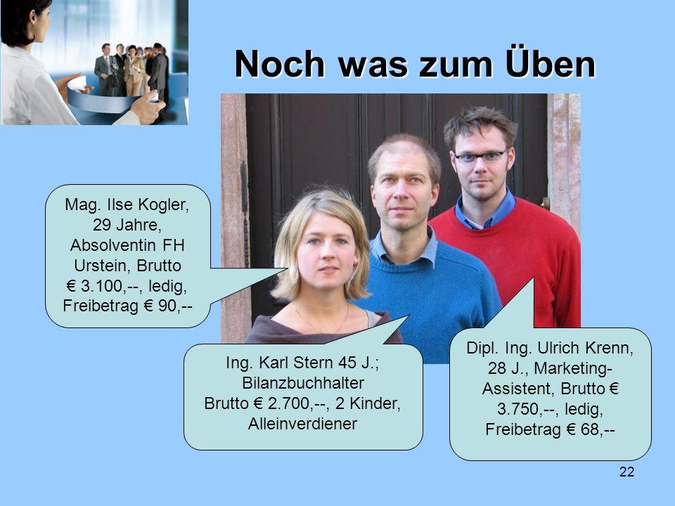 Noch was zum Üben Mag. Ilse Kogler, 29 Jahre, Absolventin FH Urstein, Brutto € 3.100,--, ledig, Freibetrag € 90,--