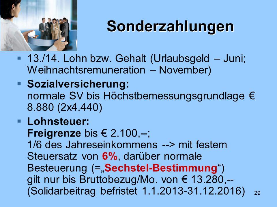 Sonderzahlungen 13./14. Lohn bzw. Gehalt (Urlaubsgeld – Juni; Weihnachtsremuneration – November)