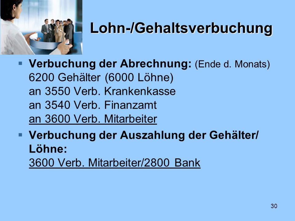 Lohn-/Gehaltsverbuchung