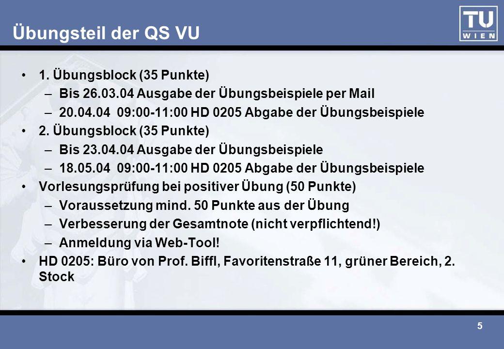 Übungsteil der QS VU 1. Übungsblock (35 Punkte)