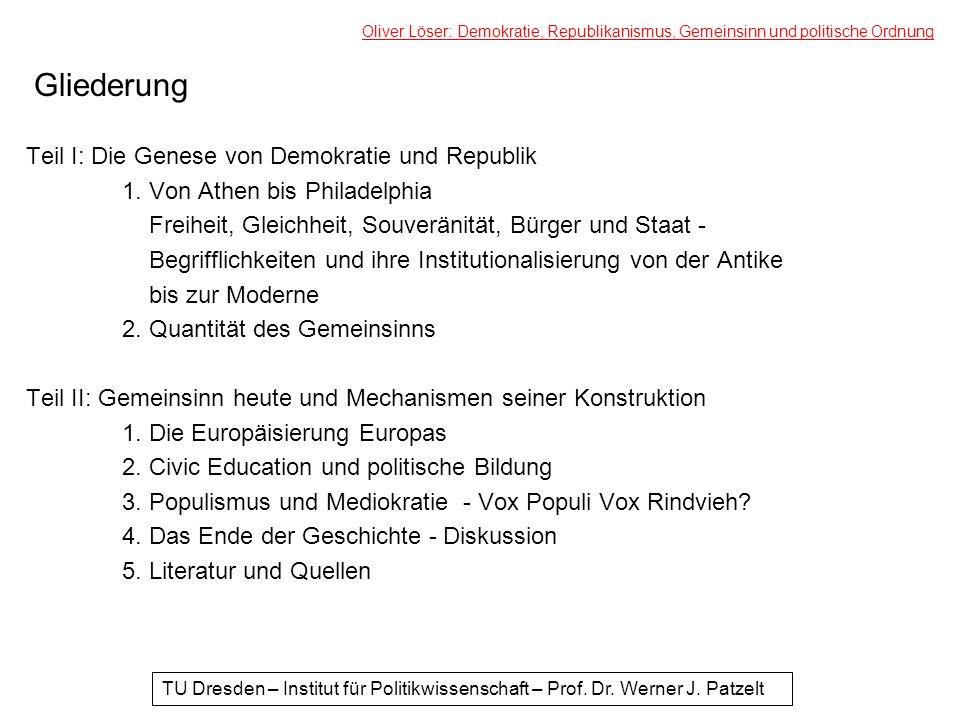 Gliederung Teil I: Die Genese von Demokratie und Republik