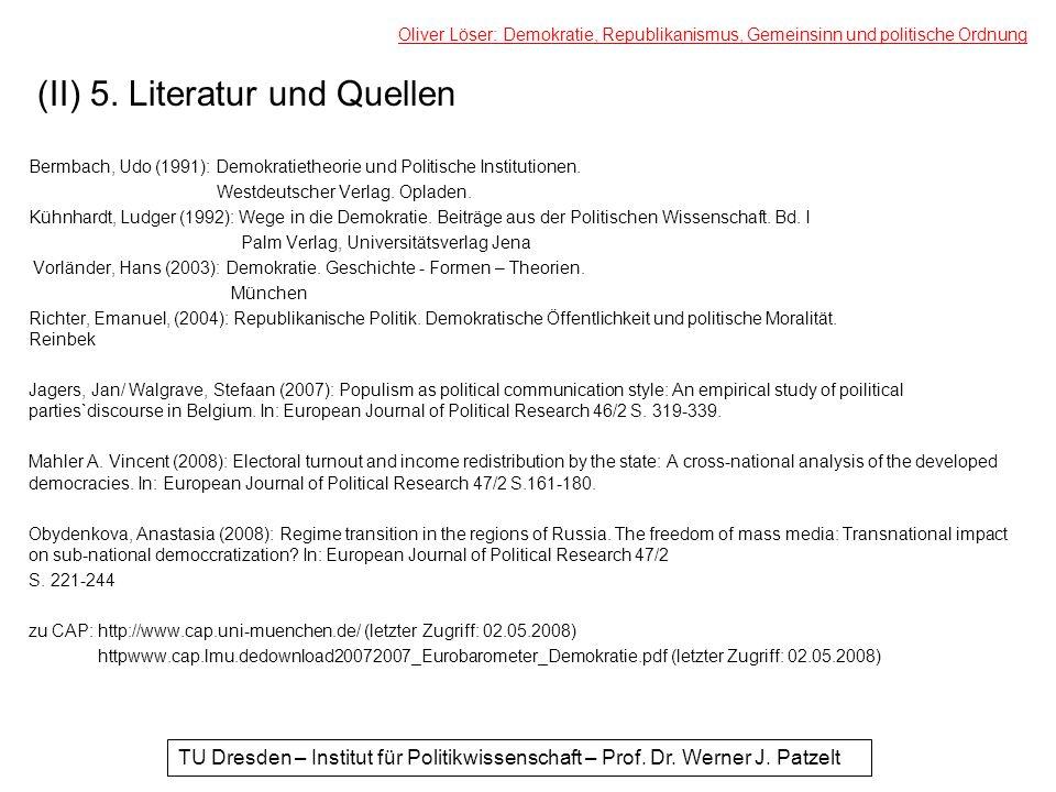 (II) 5. Literatur und Quellen