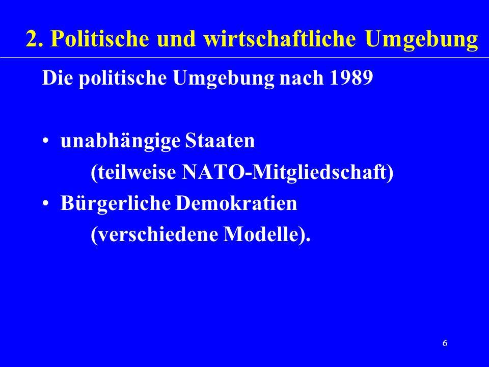 2. Politische und wirtschaftliche Umgebung