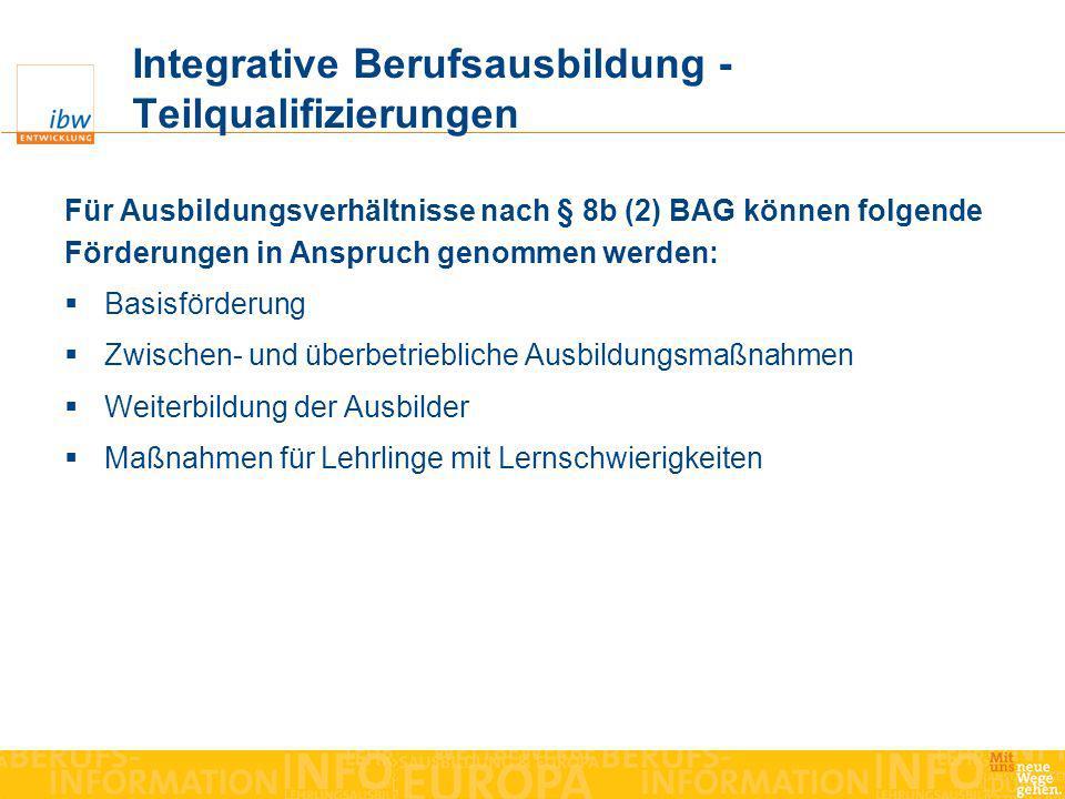 Integrative Berufsausbildung - Teilqualifizierungen