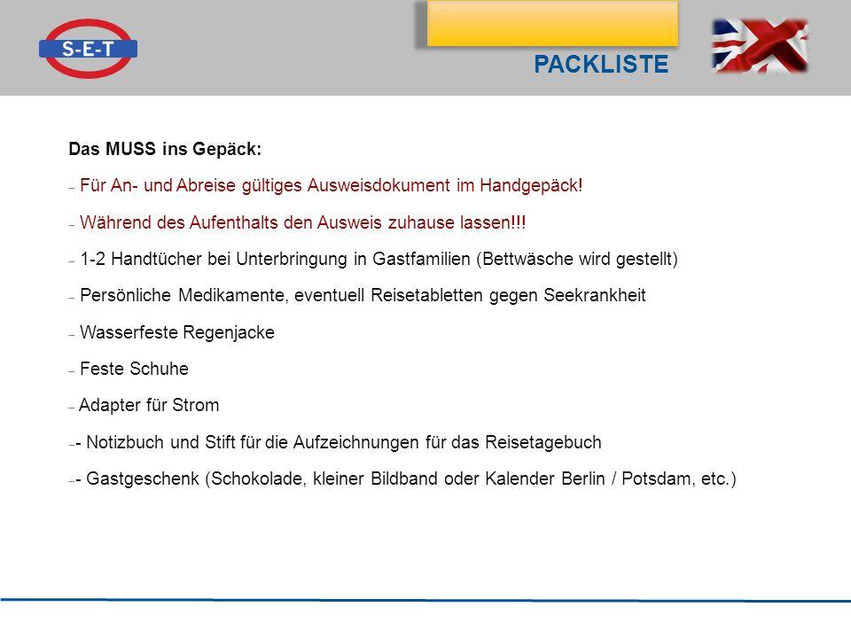 Packliste Das MUSS ins Gepäck: