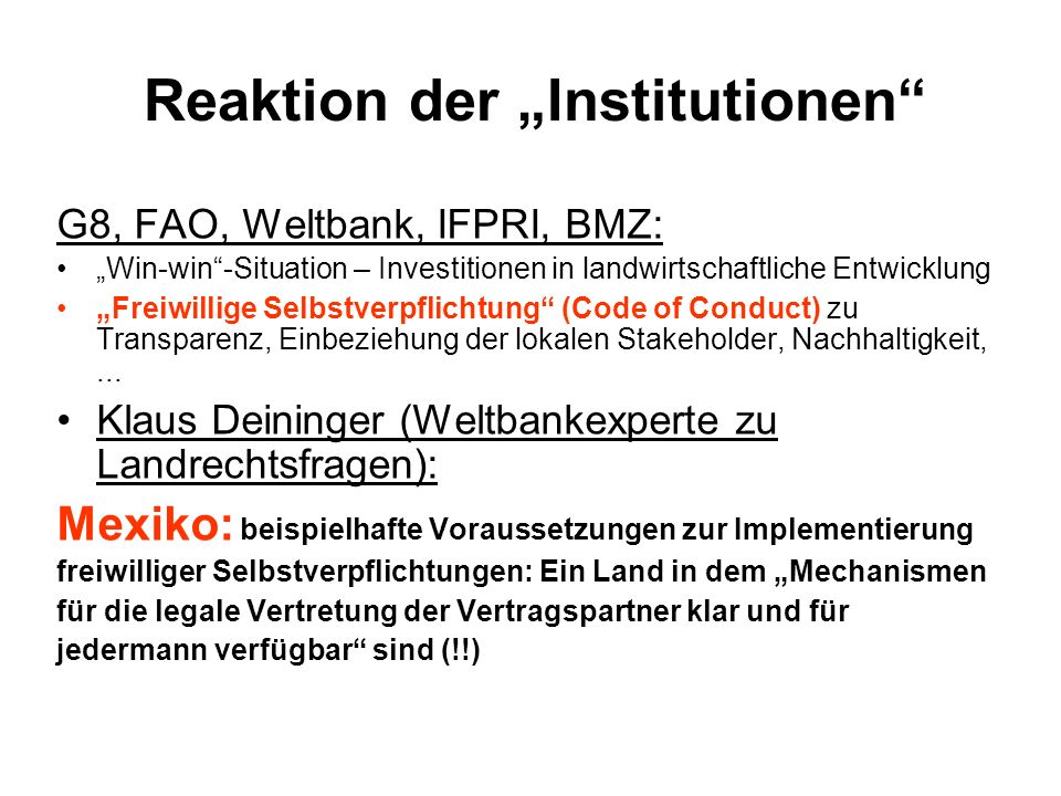 "Reaktion der ""Institutionen"