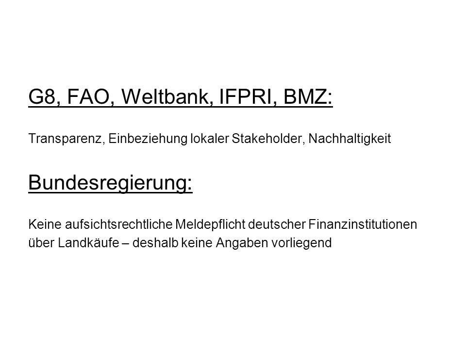 G8, FAO, Weltbank, IFPRI, BMZ:
