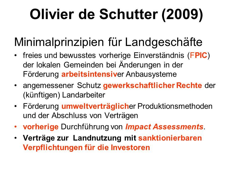 Olivier de Schutter (2009) Minimalprinzipien für Landgeschäfte