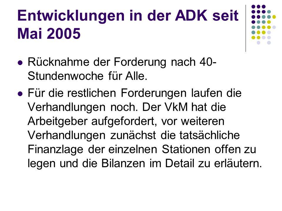 Entwicklungen in der ADK seit Mai 2005