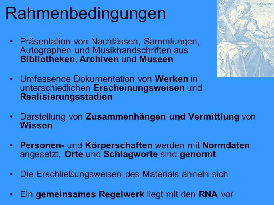 Rahmenbedingungen Präsentation von Nachlässen, Sammlungen, Autographen und Musikhandschriften aus Bibliotheken, Archiven und Museen.