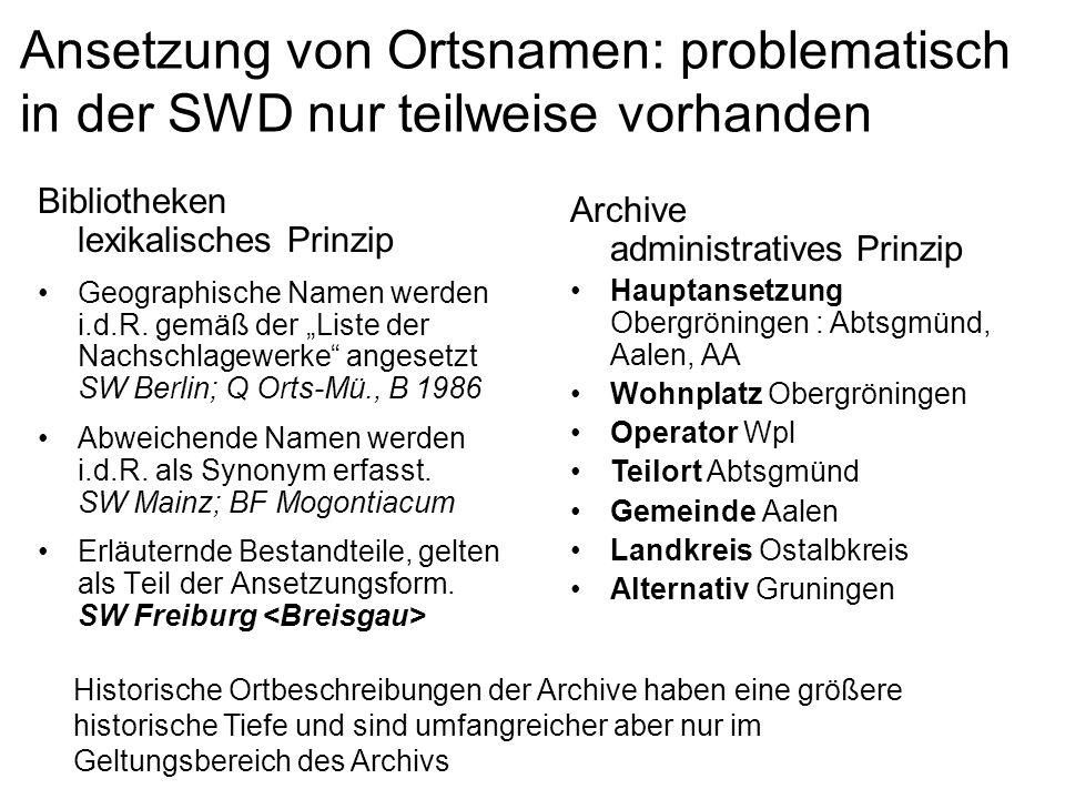 Ansetzung von Ortsnamen: problematisch in der SWD nur teilweise vorhanden
